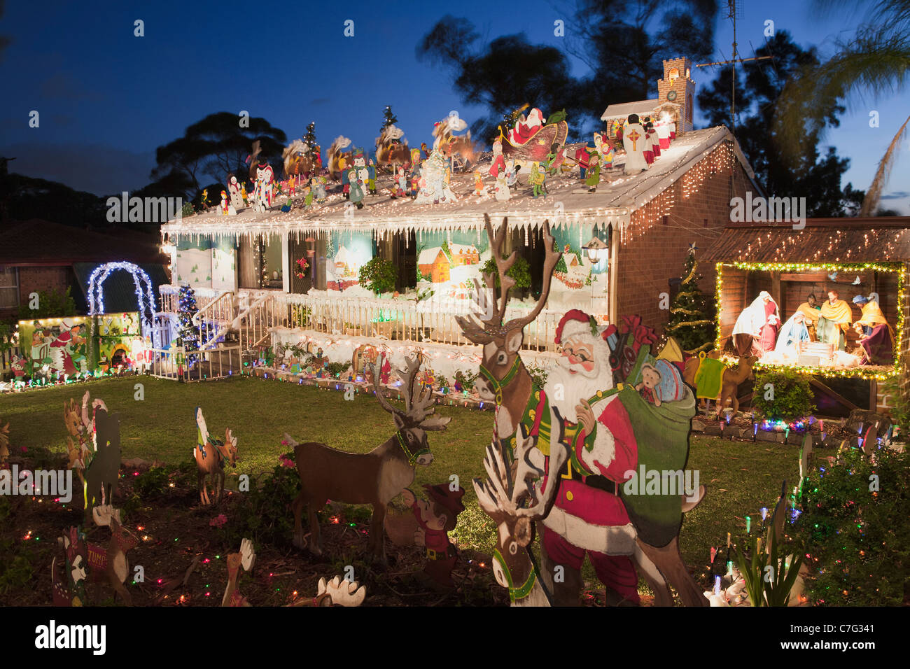 australian house christmas lights decorations sydney australia stock image