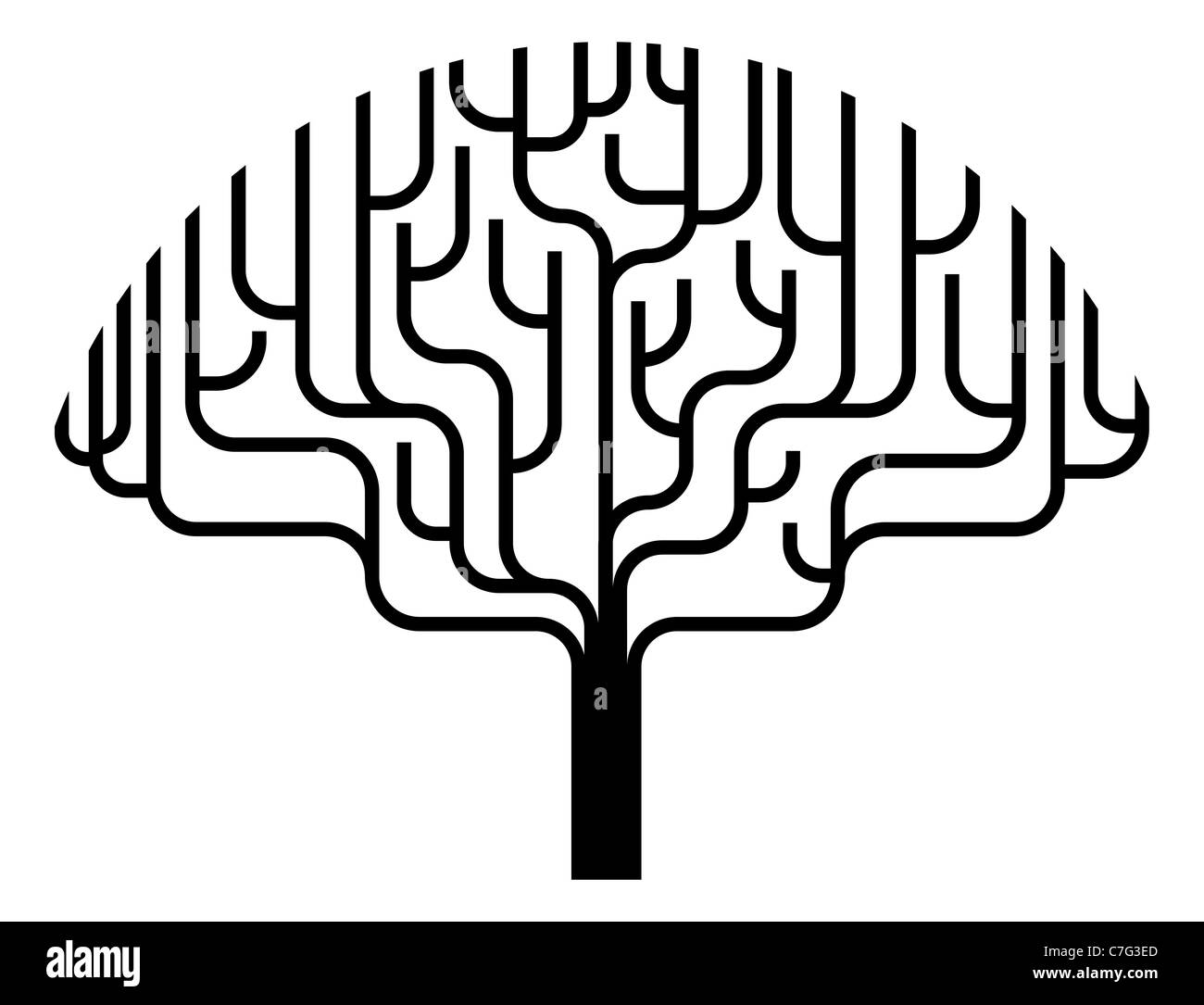 Abstract stylised tree silhouette illustration design element. - Stock Image