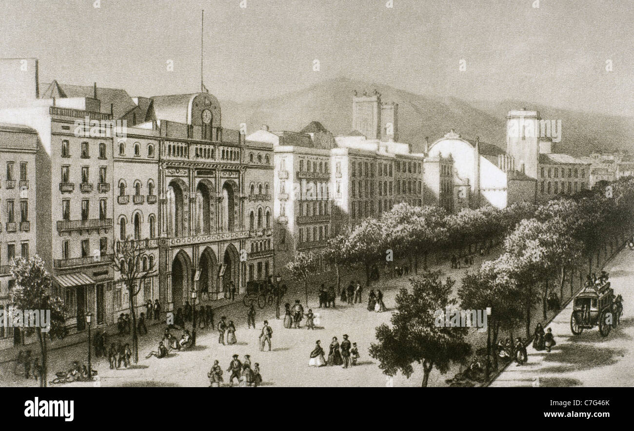 Spain. Catalonia. Barcelona. Las Ramblas and the Liceu opera house before its fire in 1861. Engraving. - Stock Image