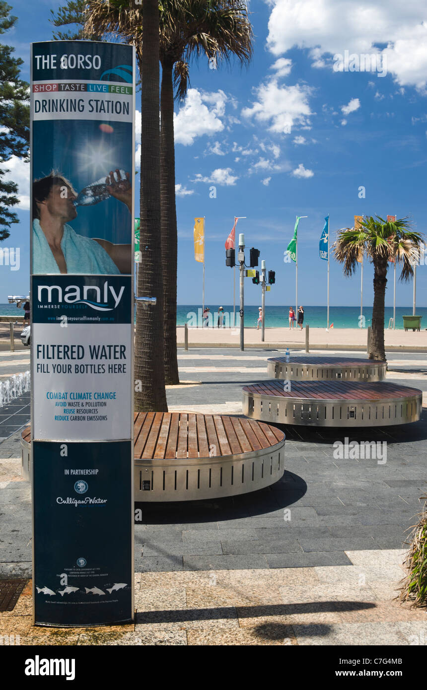Free filtered water station, Manly beach, Sydney, Australia - Stock Image