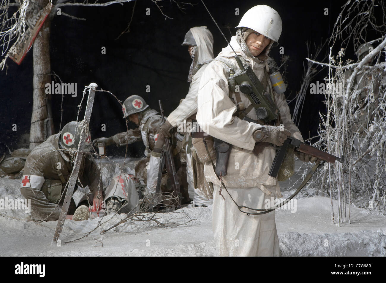 Luxembourg Country. Battle of the Bulge Museum in Diekirch.Winter battle scene, snow, medic and US soldiers. - Stock Image