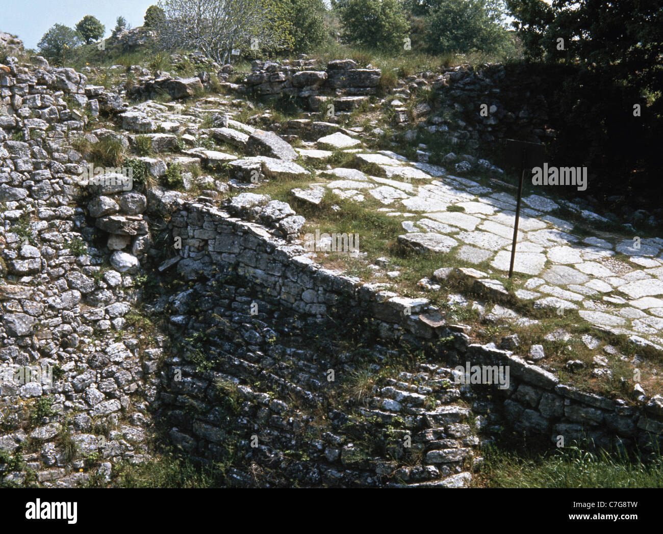 Archaeological site of Troy. Stratum IV. 2200-1900 B.C. Bronze Age. Access ramp to the main gate of the walls. Turkey. - Stock Image