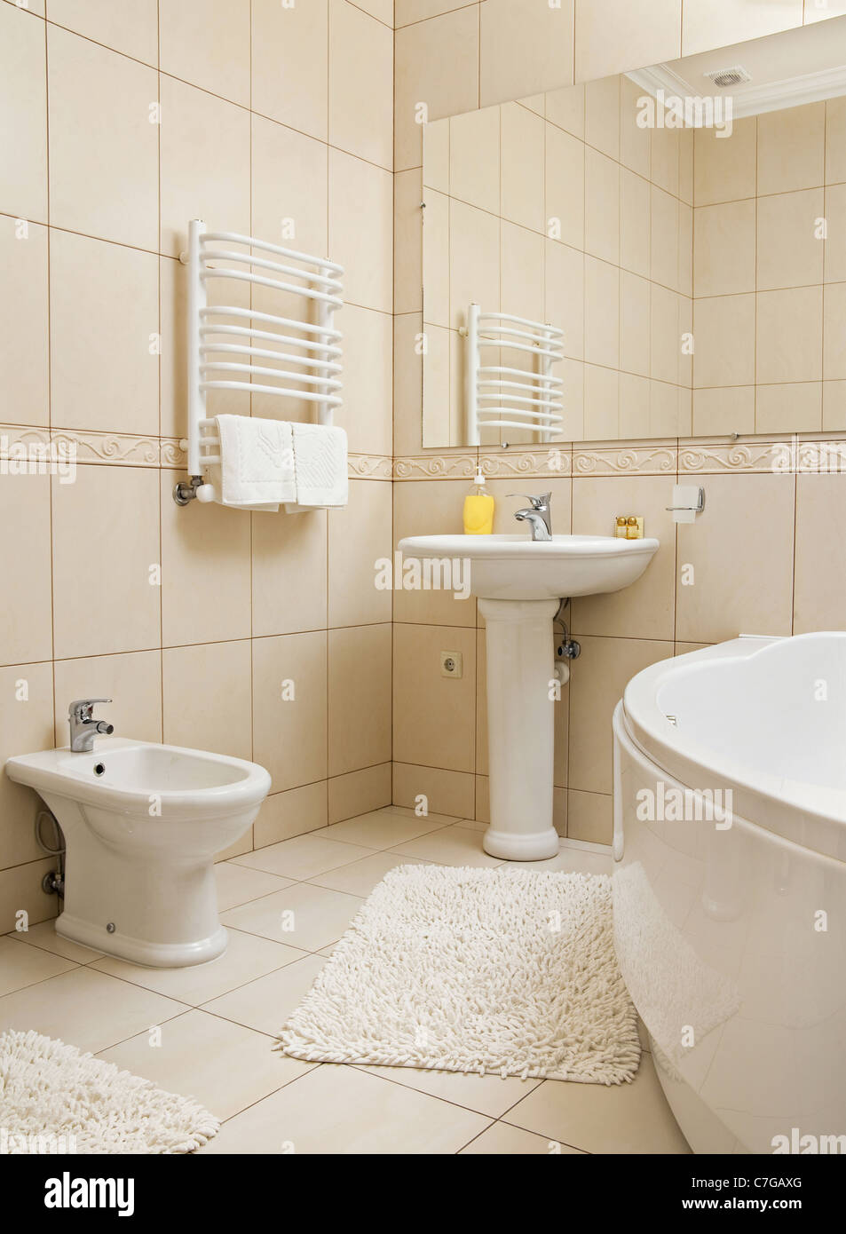 Detail white interior bathroom with accessories - Stock Image
