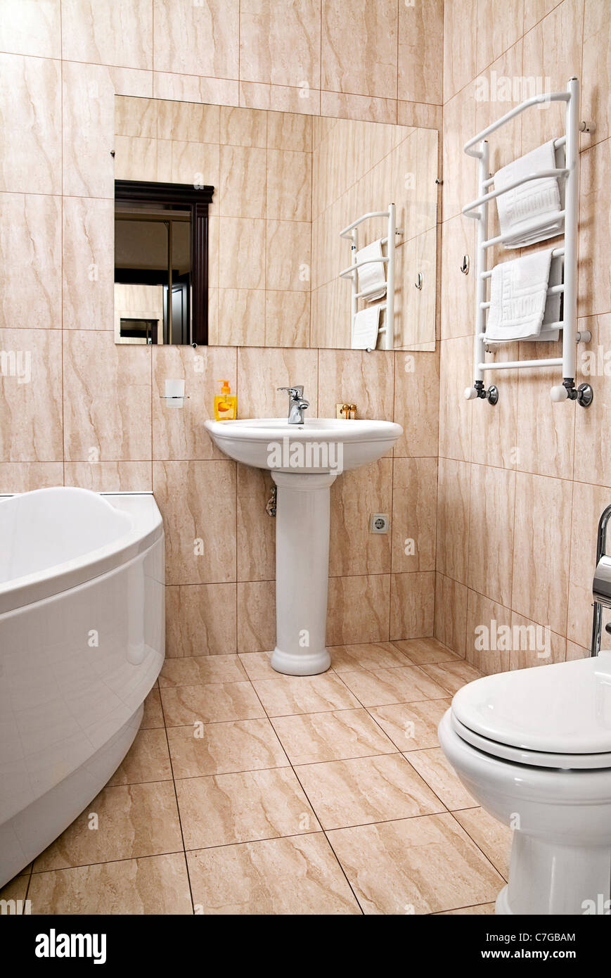 Detail interior bathroom with mirror and accessories - Stock Image