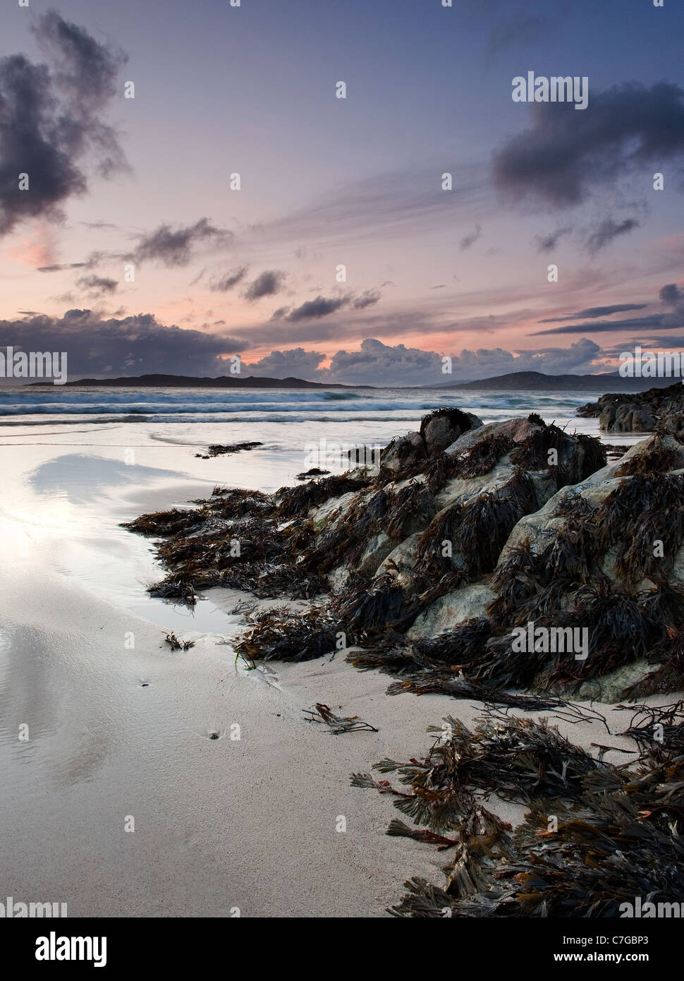 Sunset at Traigh Burgh on the island of South Harris in the Outer Hebrides - Stock Image