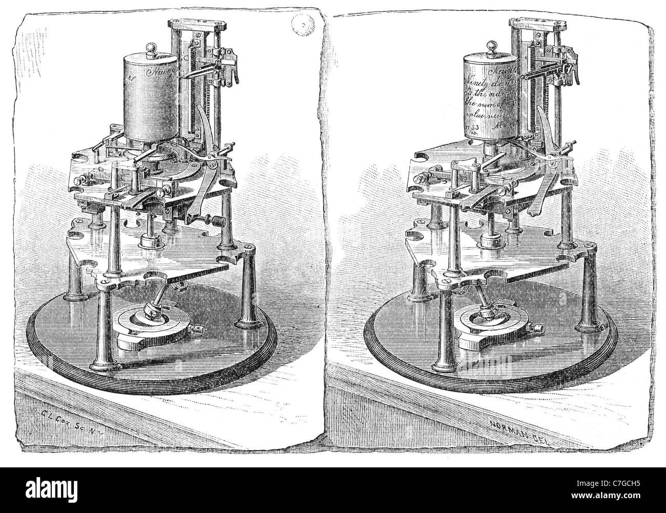 Receiver and Transmitter of the Cassell Autographic Telegraph. Illustration from a 1881 magazine. - Stock Image
