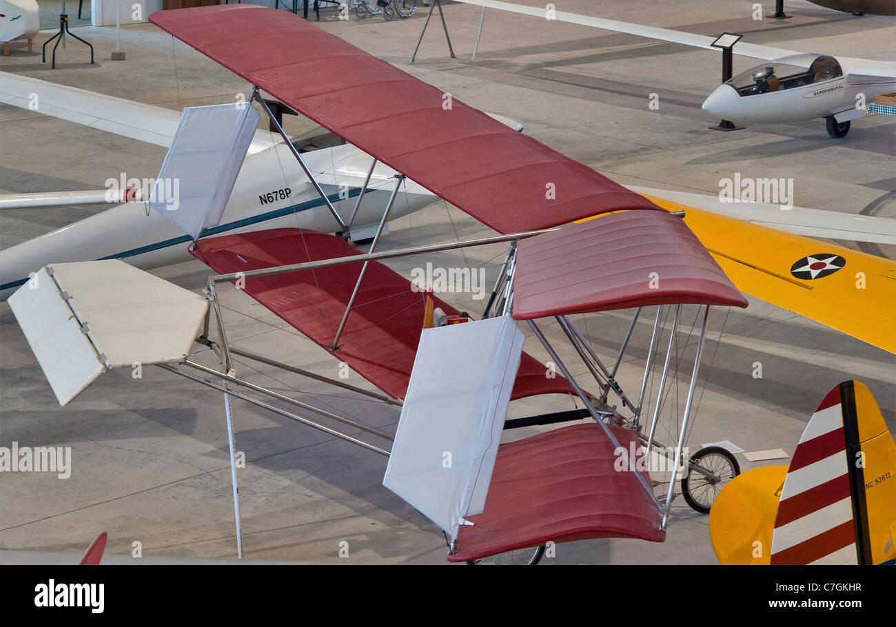 Easy Riser Ultralight biplane at Southwest Soaring Museum in Moriarty, New Mexico, USA Stock Photo