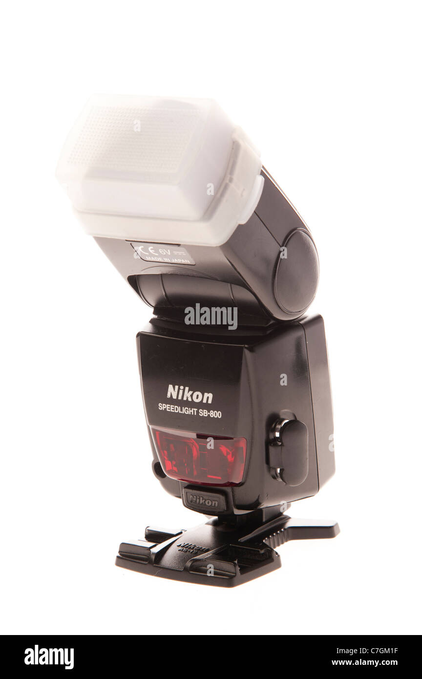 a Nikon SB800 flash gun flashgun on stand - Stock Image