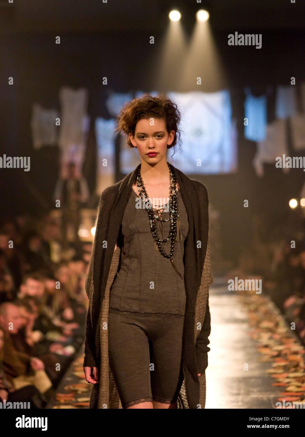 Female model on catwalk at fashion show, Reykjavik Iceland - Stock Image