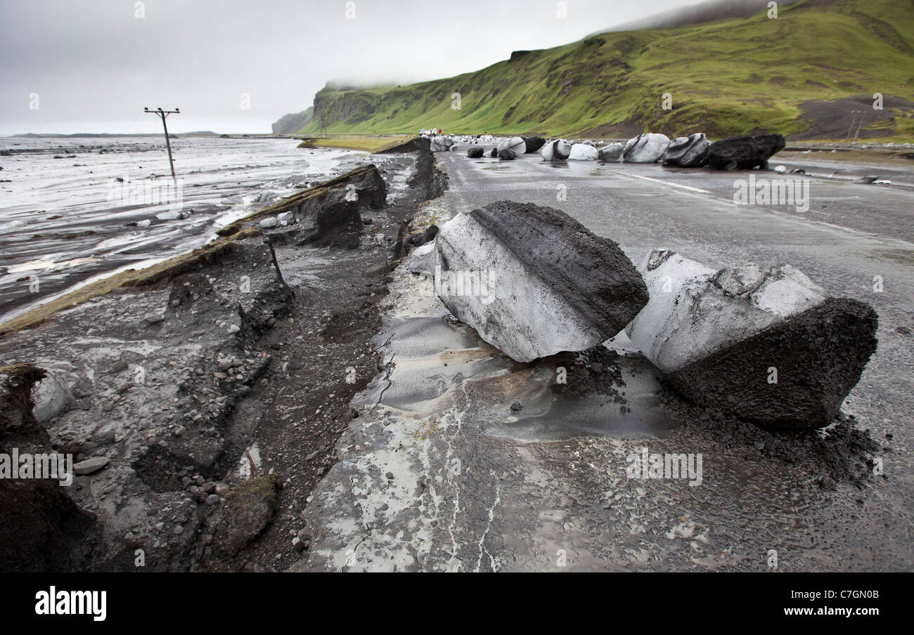 Boulders of Ice on road due to Glacial outburst, Iceland   Jokulhlaup Stock Photo