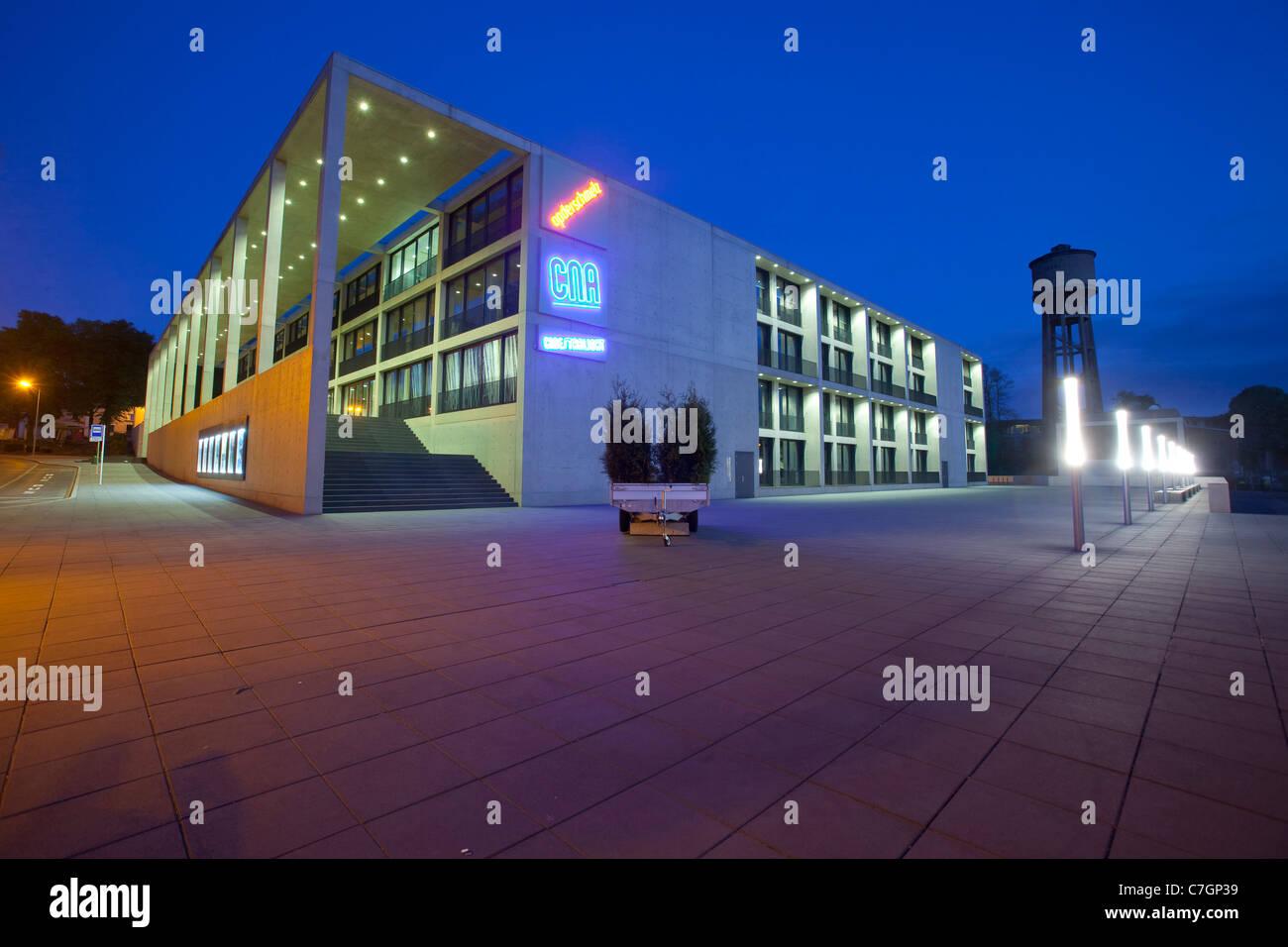 Building of the Centre National de l'Audiovisuel (CNA), National  Audiovisuel Centre at nightfall in Dudelange