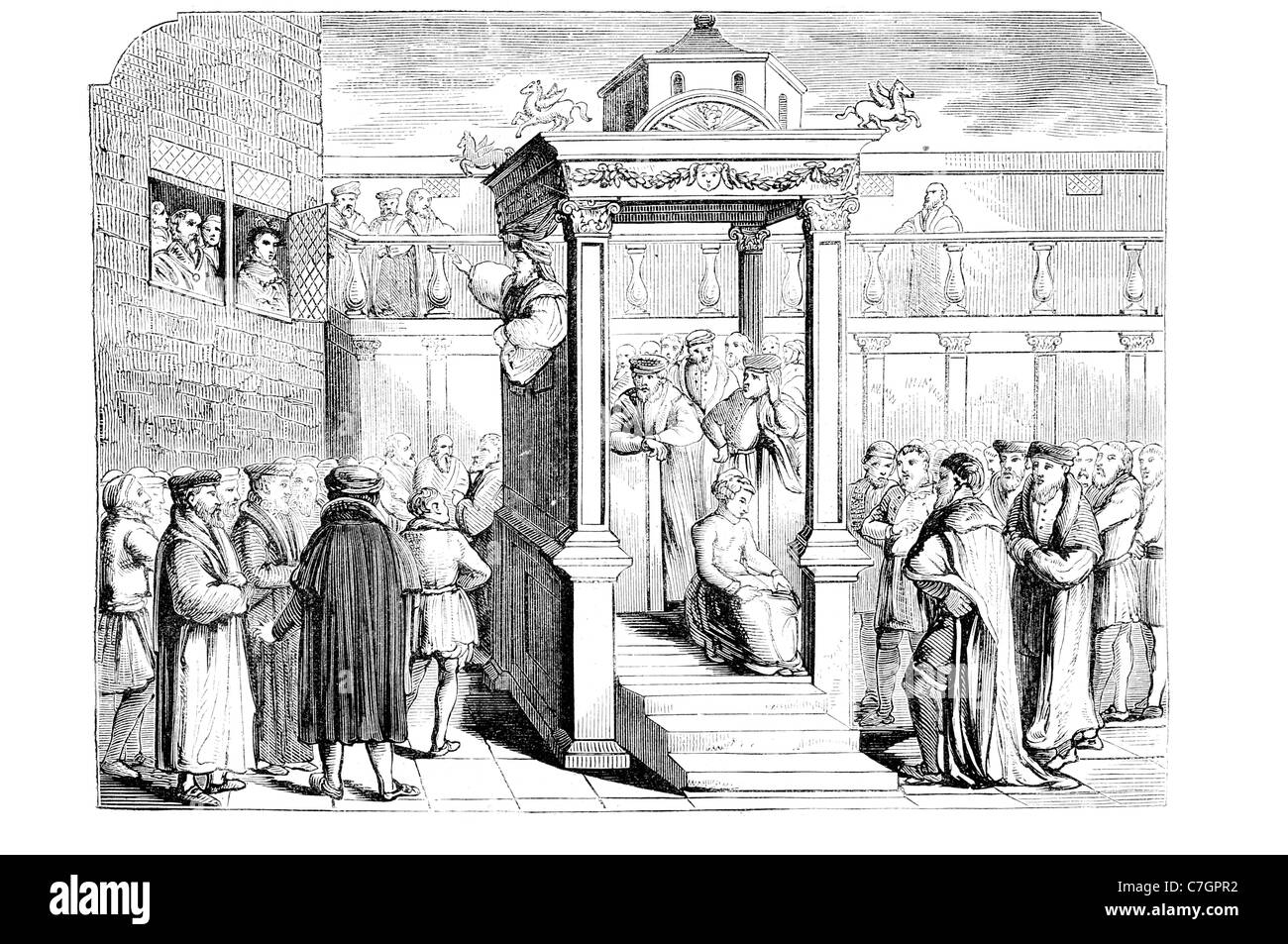 Hugh Latimer Preaching before Edward VI Fellow Clare College Cambridge Bishop Worcester burnt at the stake three - Stock Image