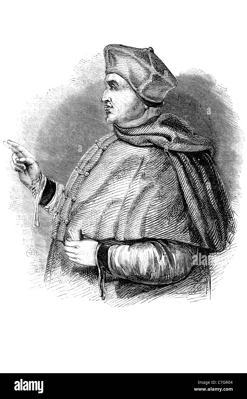 Thomas Wolsey English political figure cardinal Roman Catholic Church almoner extremely powerful highest political - Stock Image