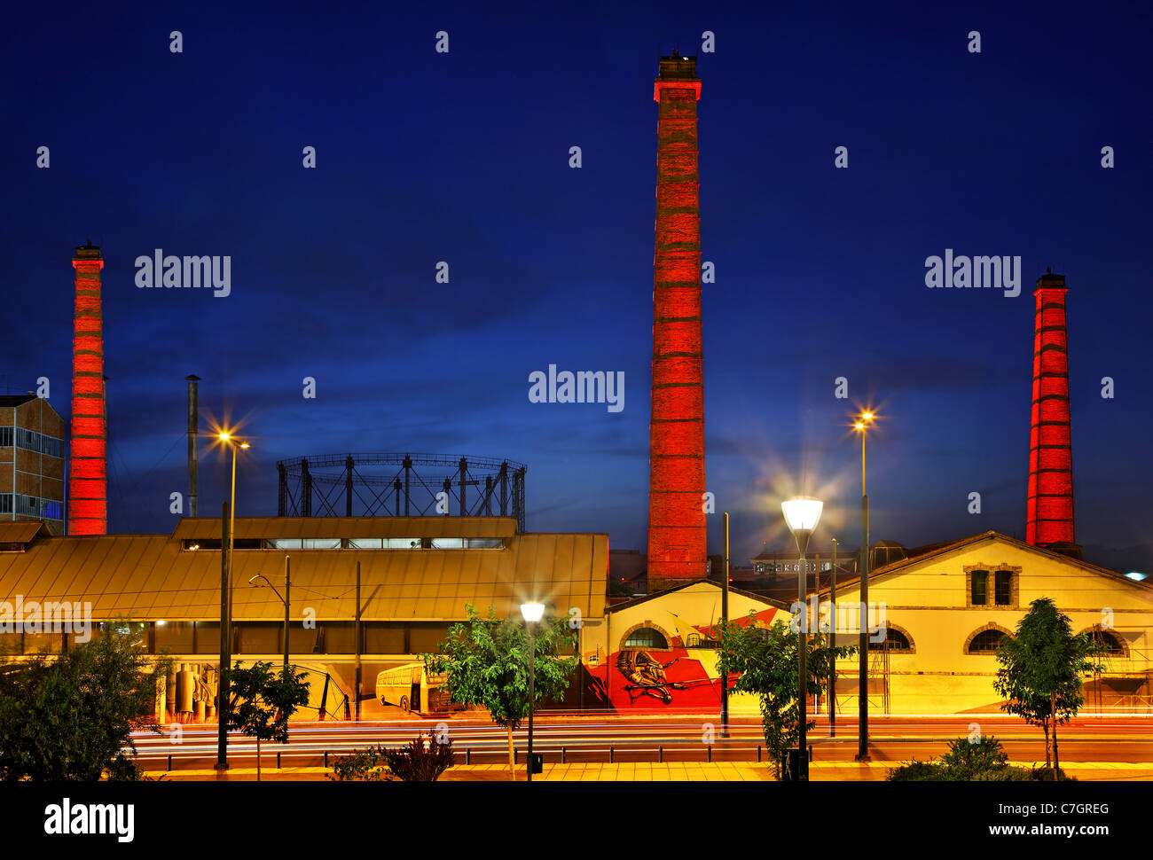 The old Gaz (gas) factory, nowadays the 'Technopolis' ('City of Arts') of Athens, Greece - Stock Image