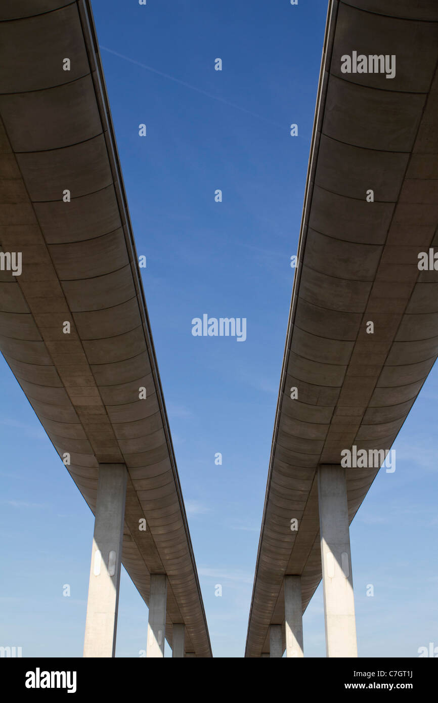 Low angle view of concrete overpasses - Stock Image