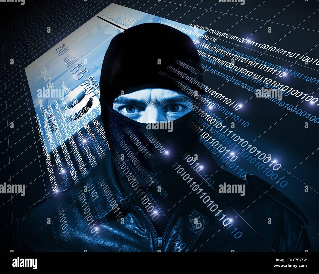 hacker with black balaclava portrait - Stock Image
