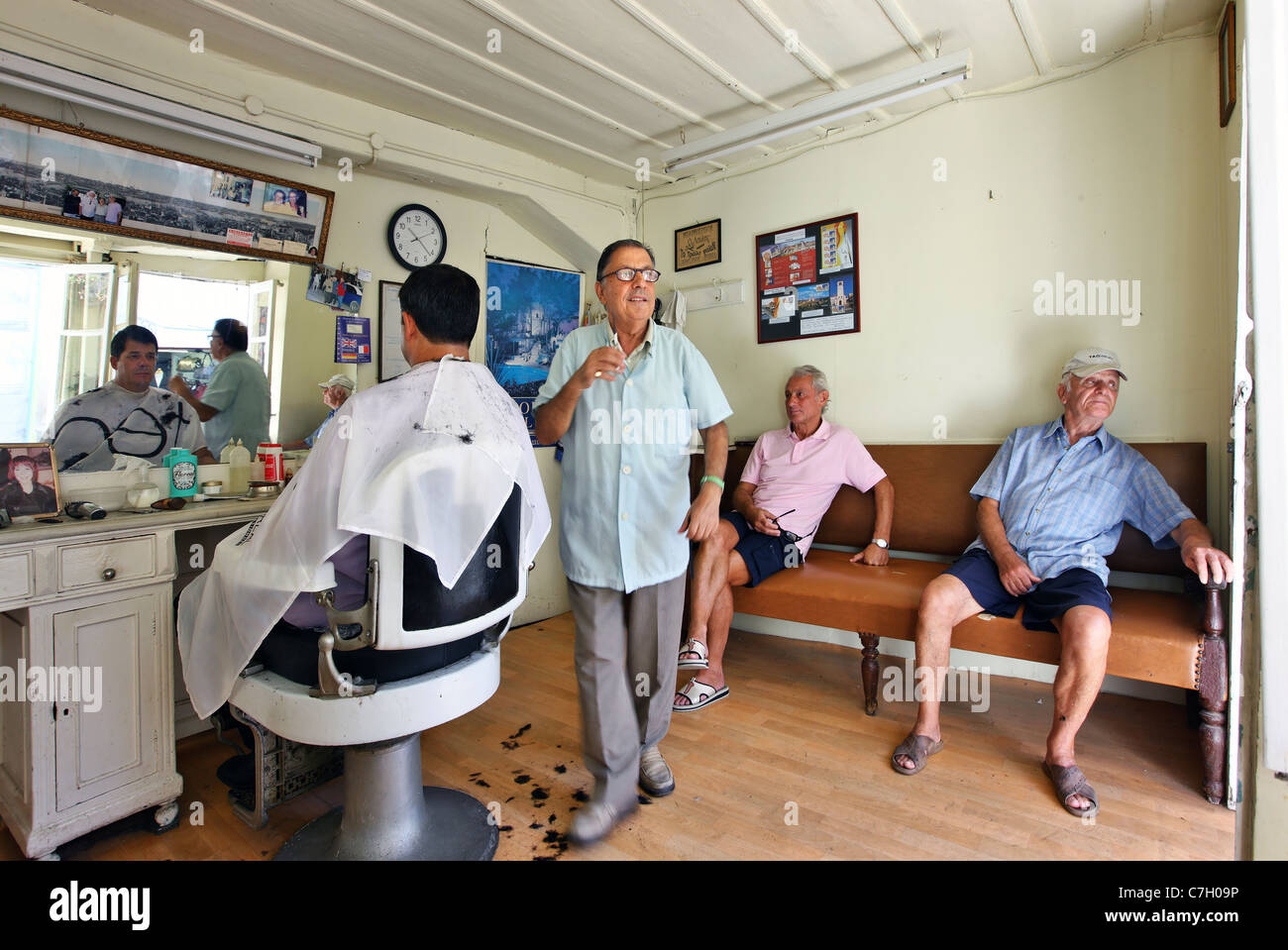Traditional barber shop at Preveza town, Epirus, Greece Stock Photo