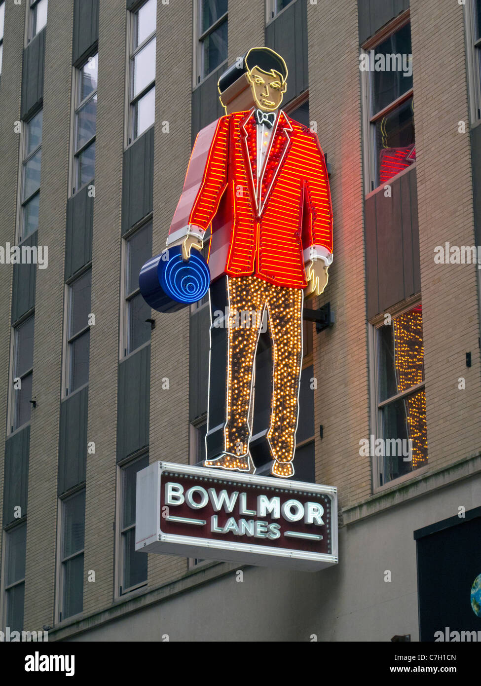 Bowlmor bowling sign - Stock Image