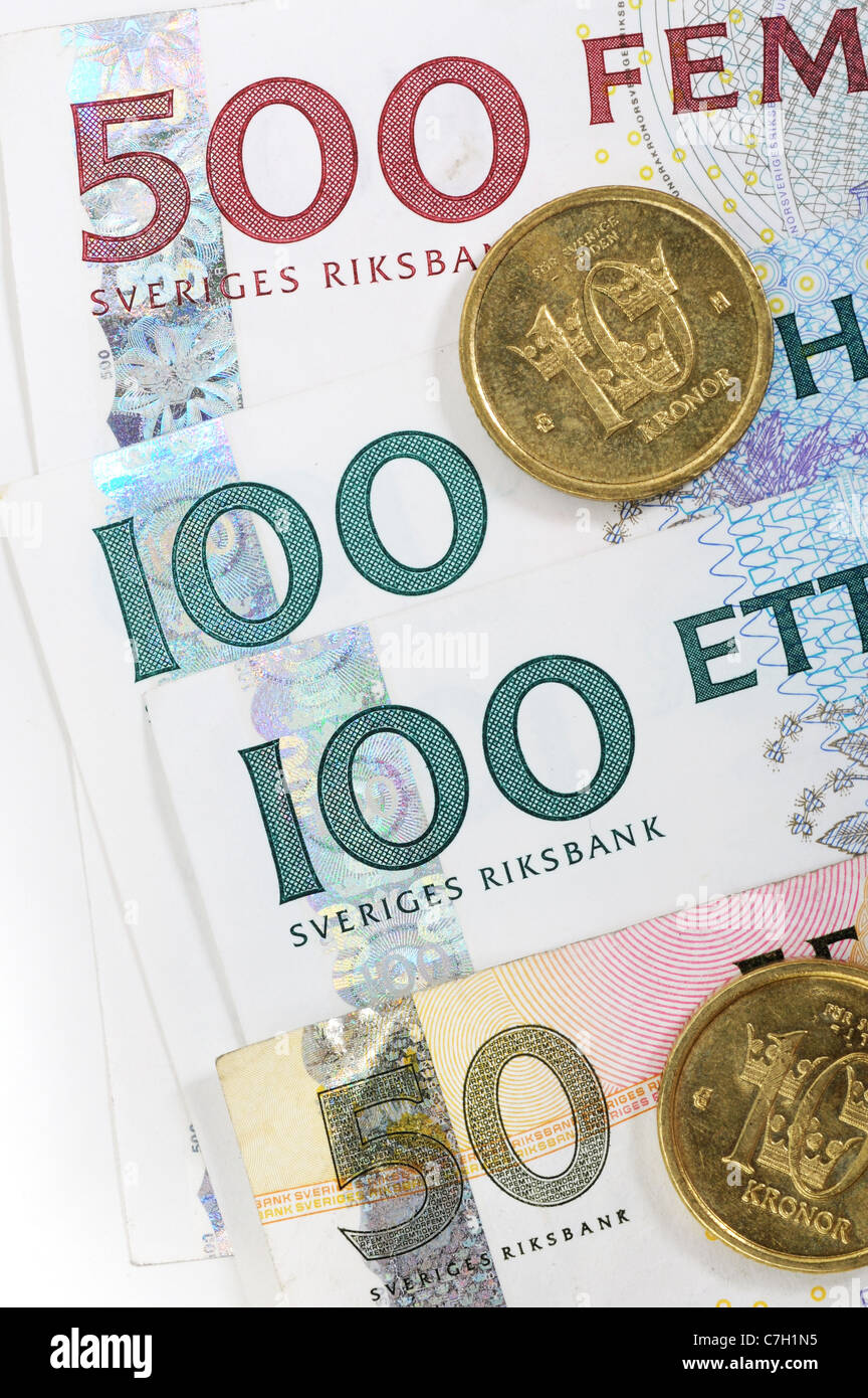 Swedish crowns are one of the strongest currencies in Europe - Stock Image