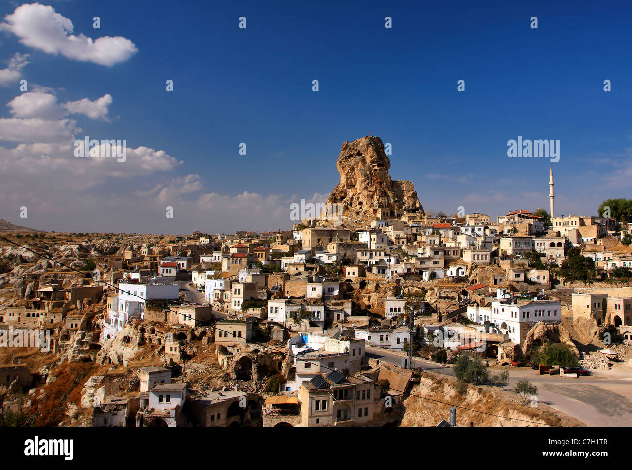 Ortahisar (it means 'middle castle') is one of the 2 natural rocky 'castles' in the region of Cappadocia. - Stock Image