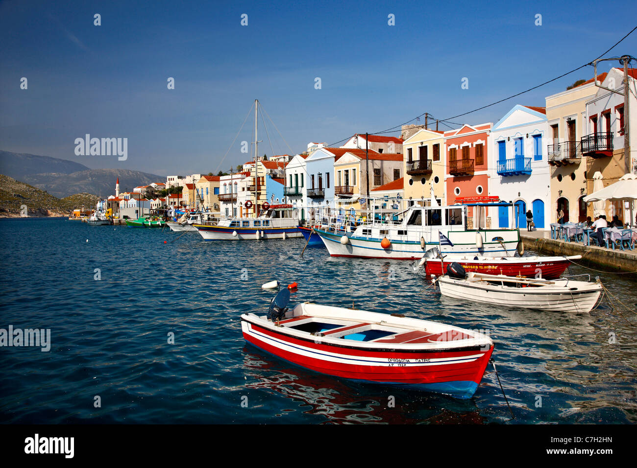 Partial view of the picturesque harbor and  village of Kastellorizo (or 'Meghisti') island, Dodecanese, - Stock Image
