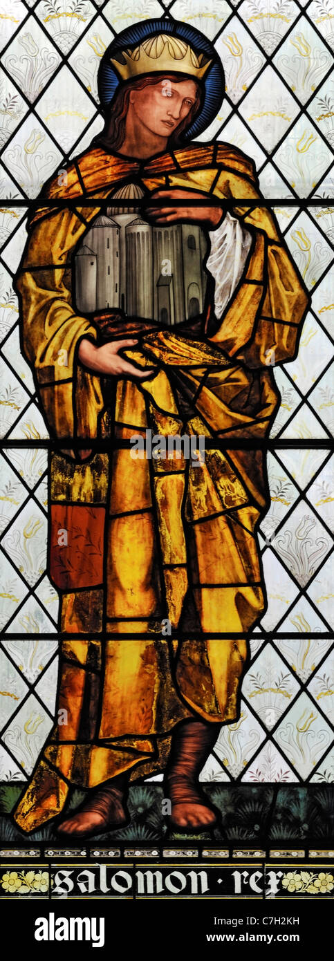 Stained glass window depicting King Solomon, Brampton Church, Cumbria, England Stock Photo