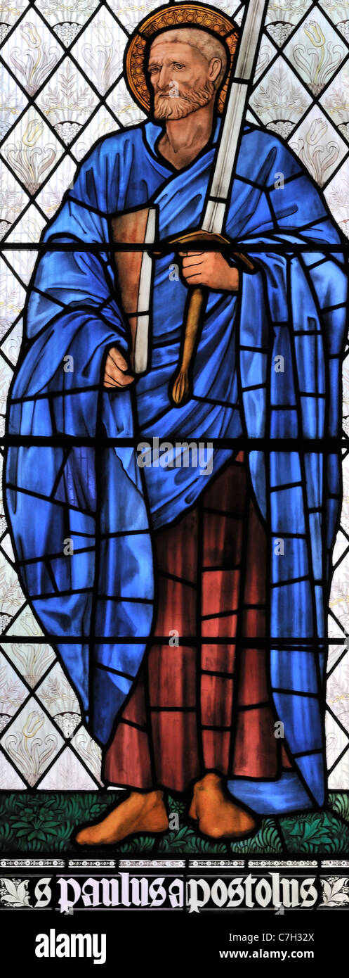 Stained glass window depicting St Paul the Apostle in Brampton Church, Cumbria, England - Stock Image