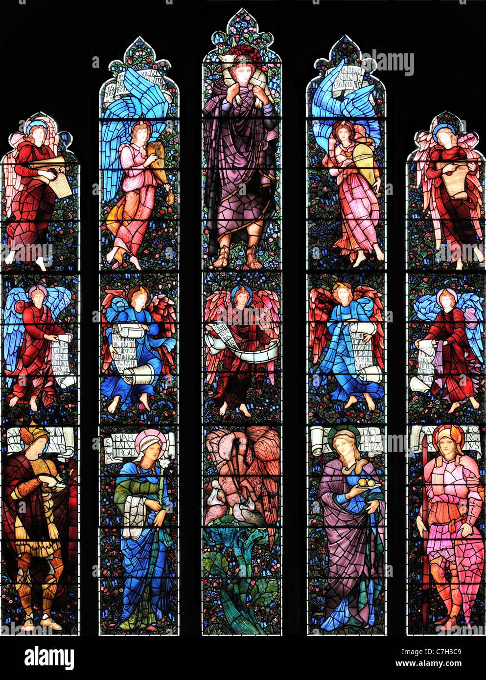 The East window, designed by Edward Burne-Jones, in St Martin's Church, Brampton, Cumbria, England Stock Photo