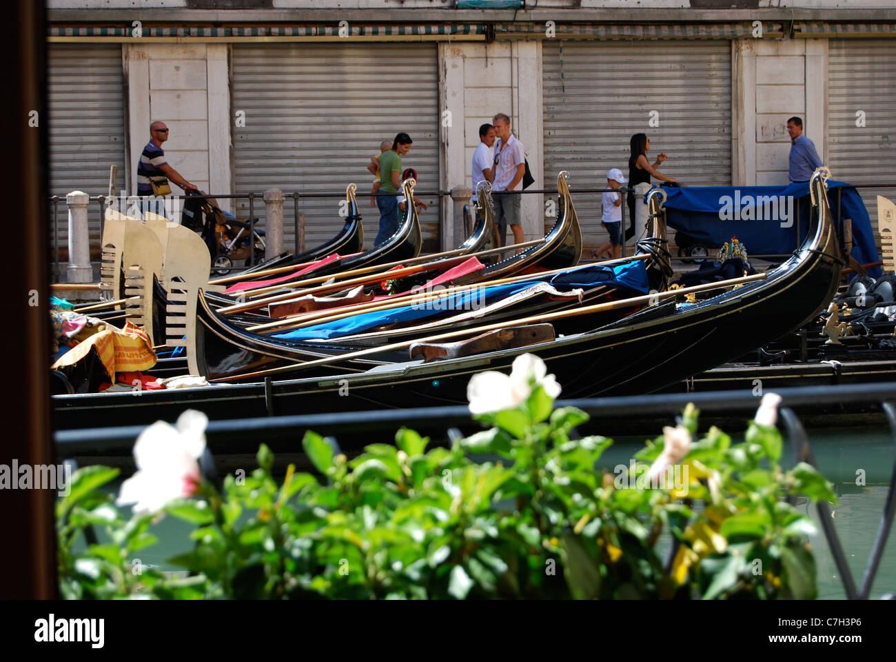 Gondolas moored at Bacino Orseolo - Stock Image