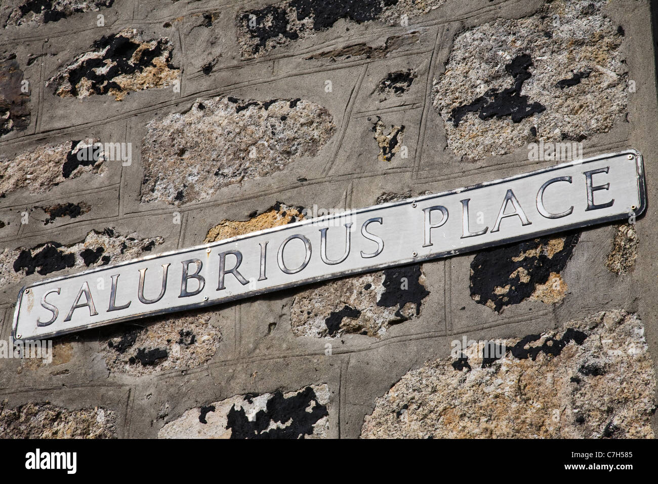 SALUBRIOUS PLACE street sign, St Ives. - Stock Image