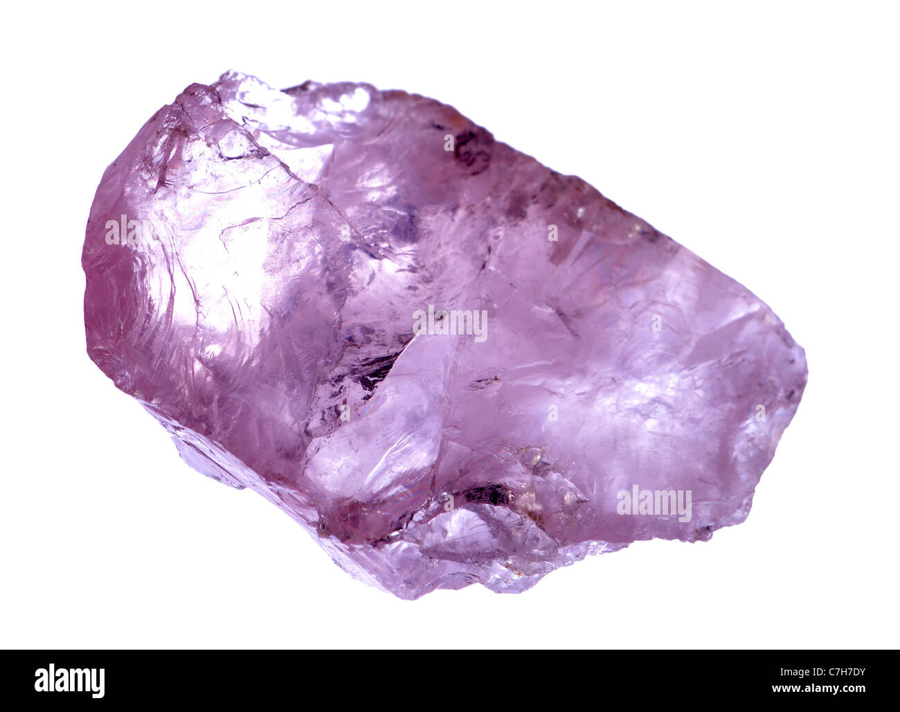 Rose quartz - tinted by traces of titanium - Stock Image