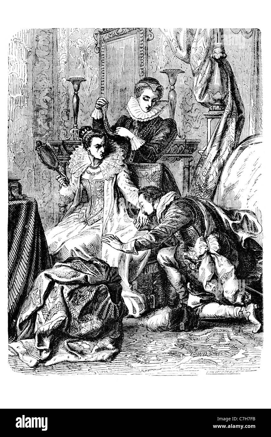 Reconciliation between Queen Eizabeth I and Earl of essex Virgin Queen Gloriana  Good Queen Bess - Stock Image