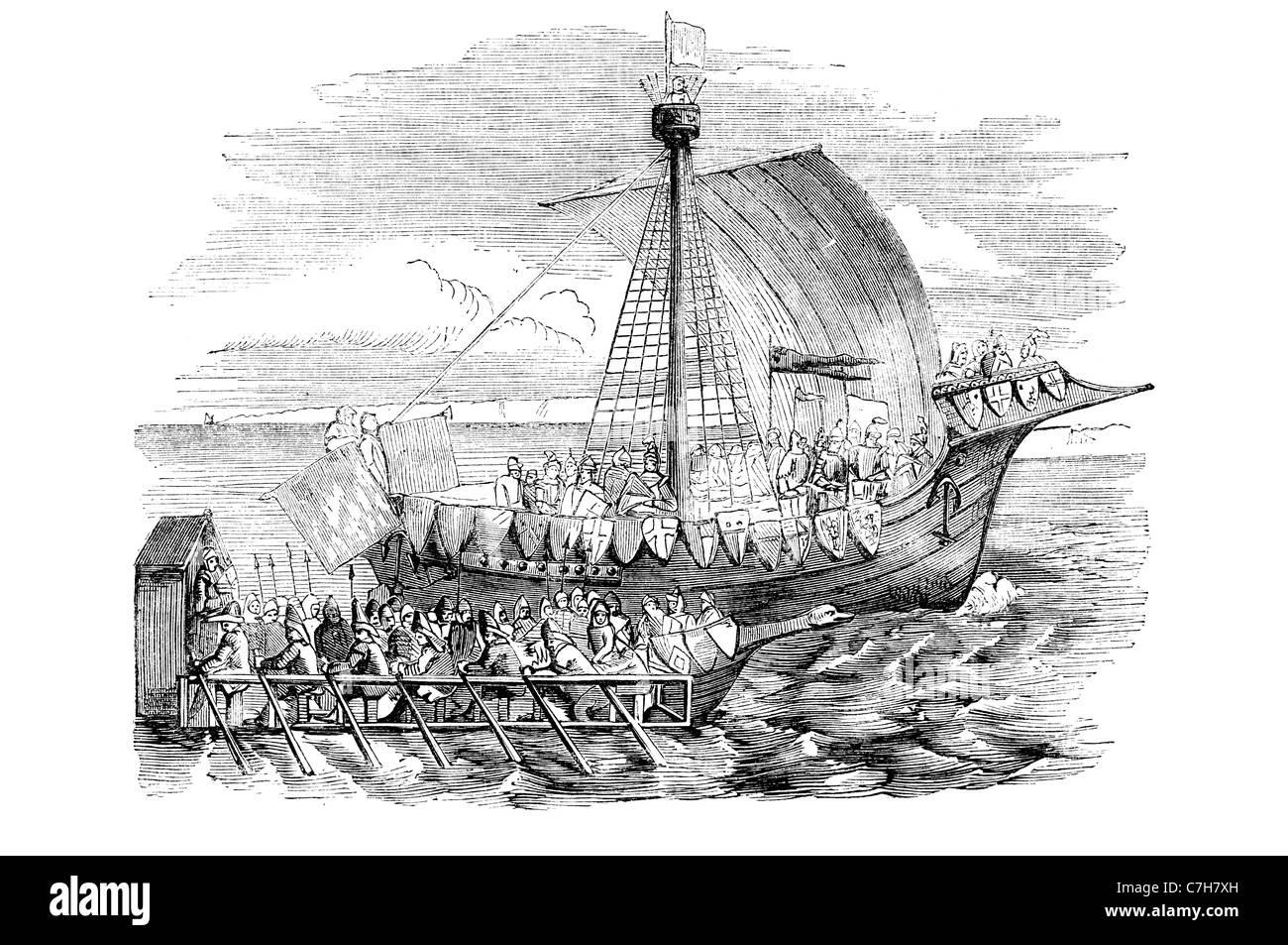 Ship of war 15th century Two decker sail warship her guns armed decks upper works forecastle quarterdeck battery - Stock Image