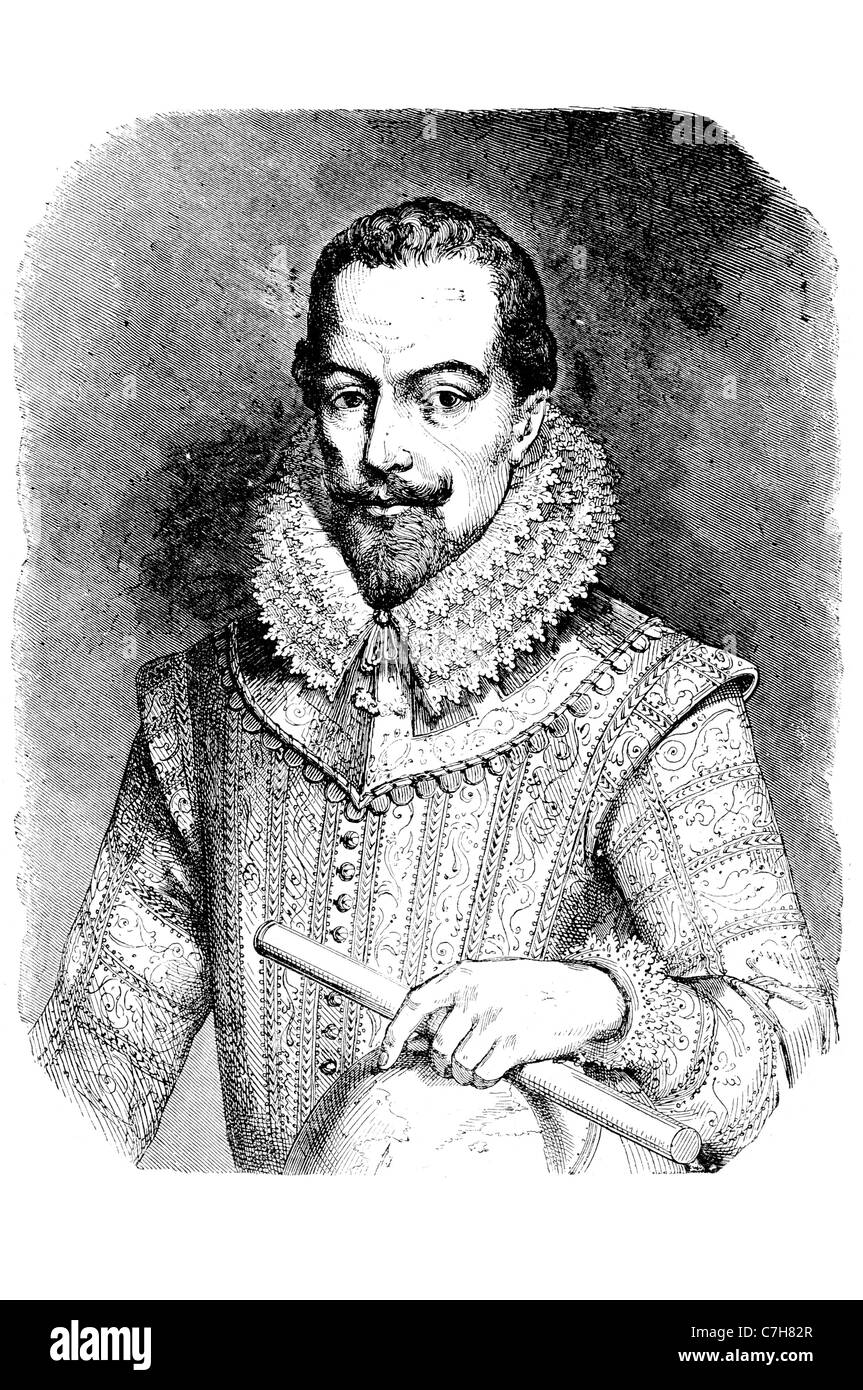 Sir Walter Raleigh portrait English aristocrat writer poet soldier courtier spy explorer tobacco England Protestant - Stock Image