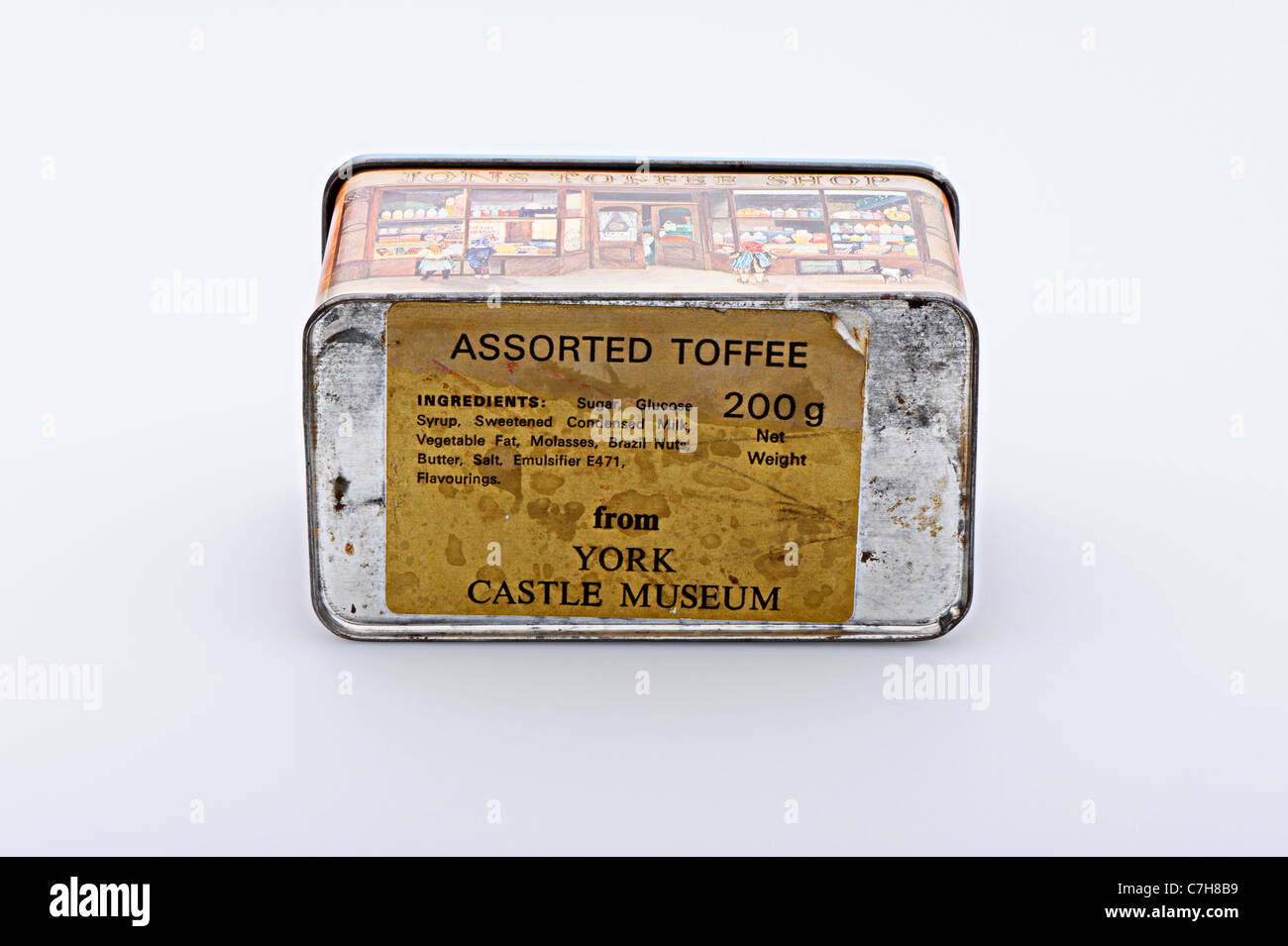 Old Toffee box  70's York Castle Museum, isolated on light grey background with shadow - Stock Image