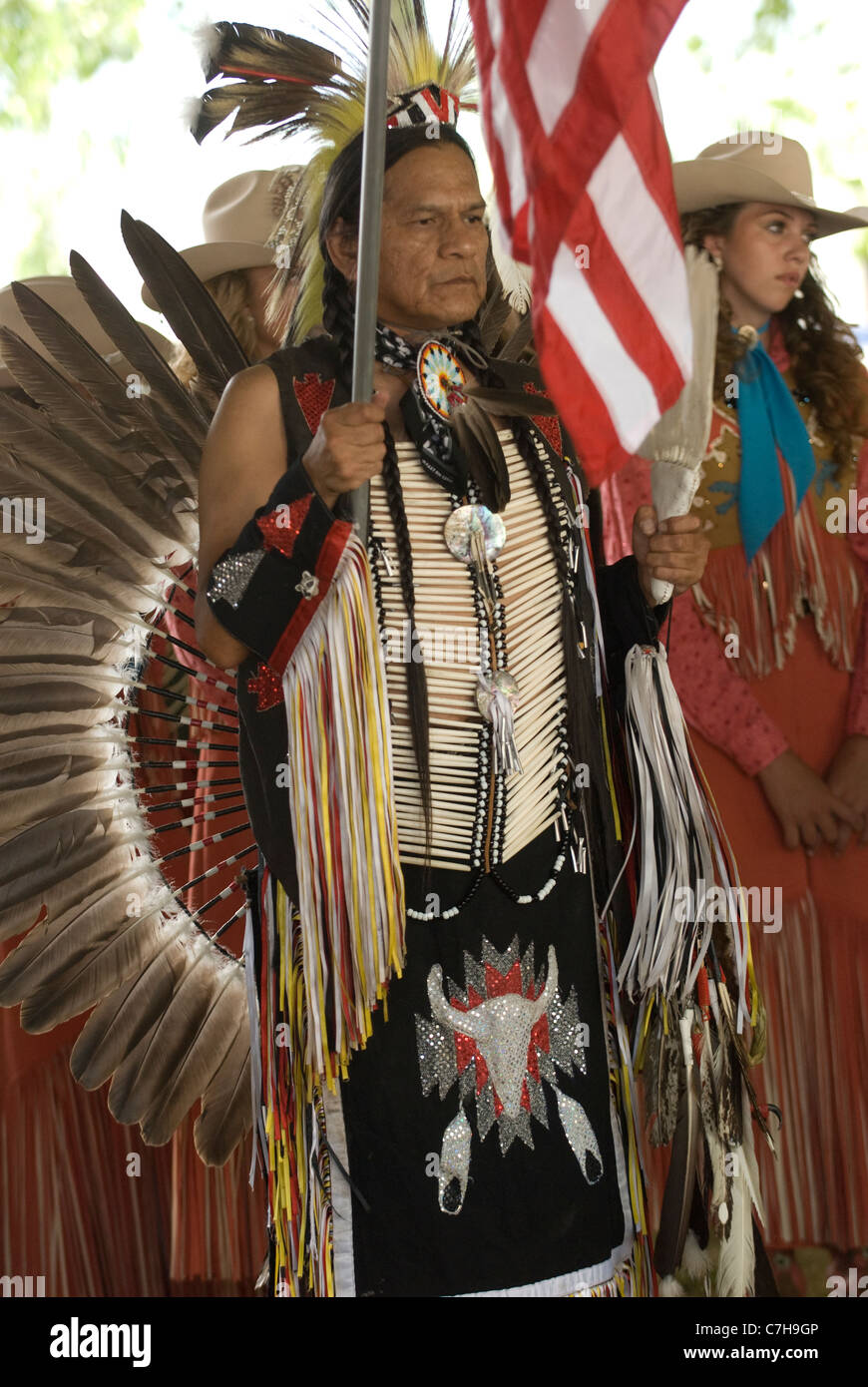 Nez Perce tribe member in full regalia at Chief Joseph Days Festival; Joseph; Oregon - Stock Image