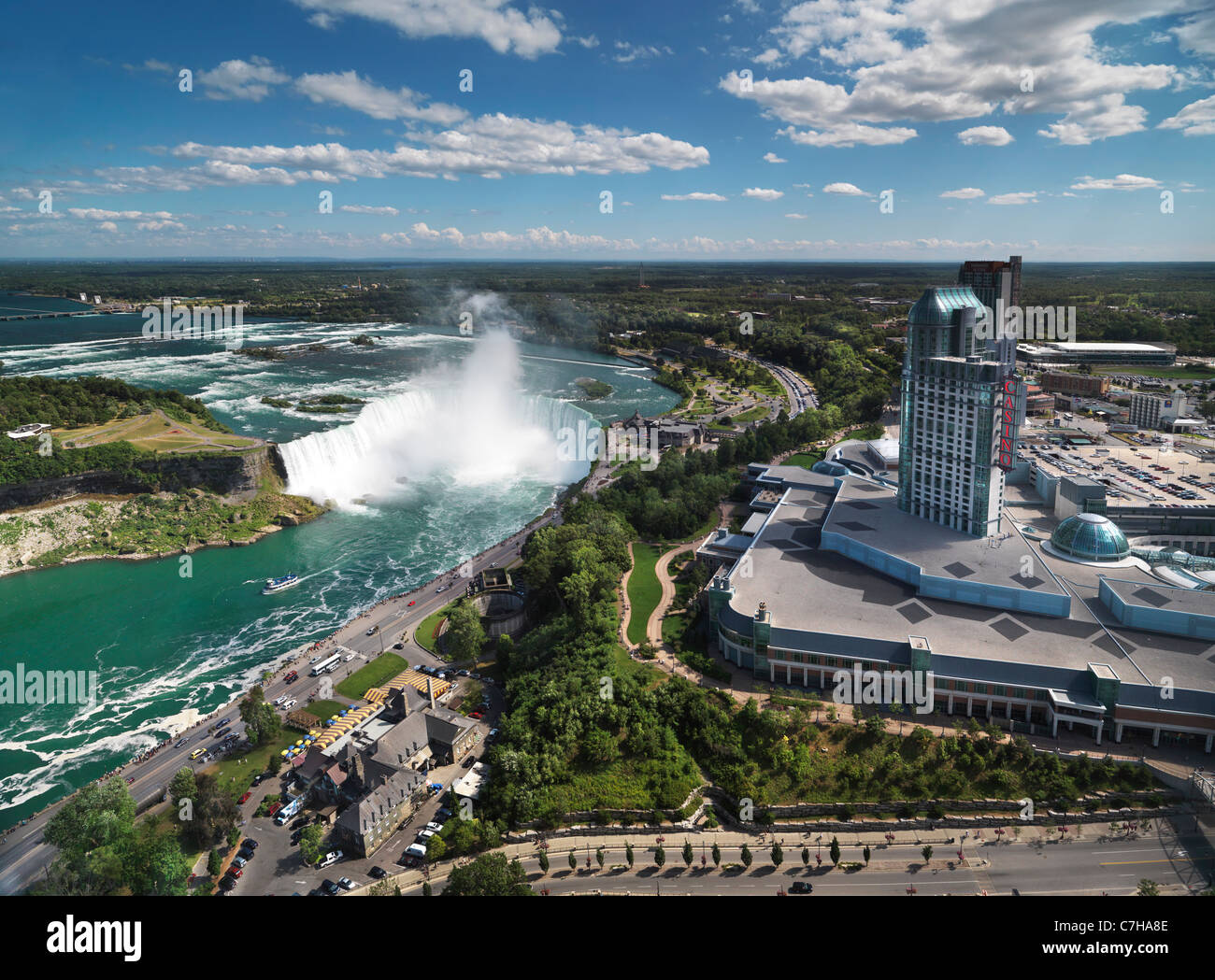 Aerial view on Niagara Falls Canadian Horseshoe and Fallsview Casino. Ontario, Canada 2011. - Stock Image