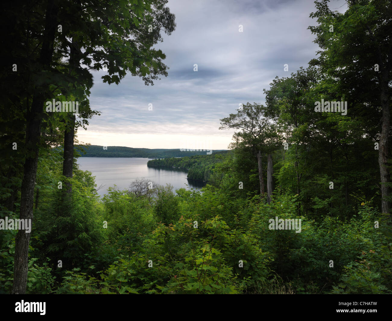 Algonquin Provincial Park view on Smoke Lake summertime nature scenery. Ontario, Canada. - Stock Image