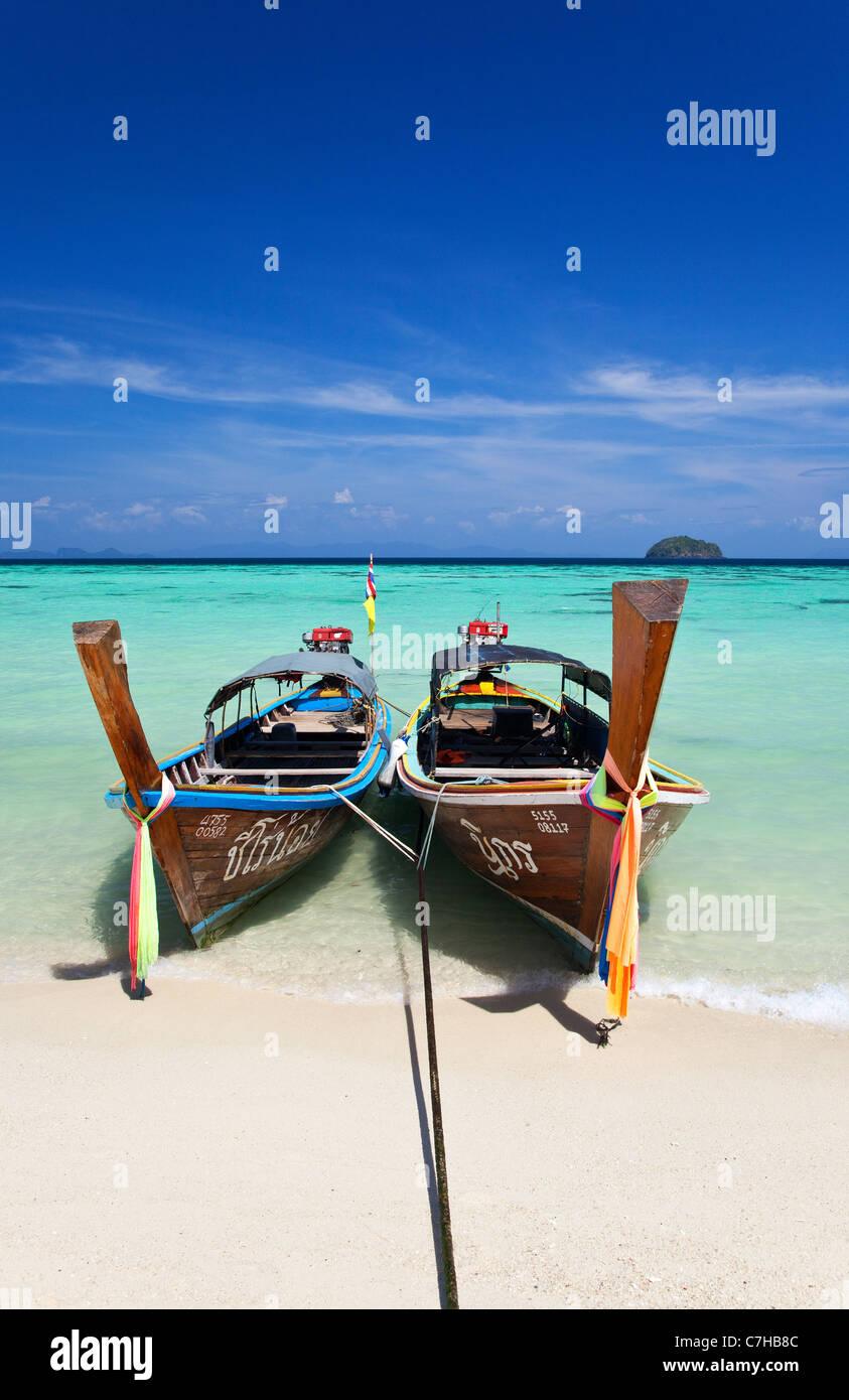 Long-Tail Boats on Ko Lipe, Thailand Stock Photo