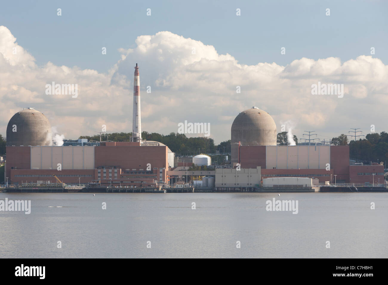 Indian Point Energy Center, a nuclear power plant on the Hudson River in Buchanan, New York. - Stock Image