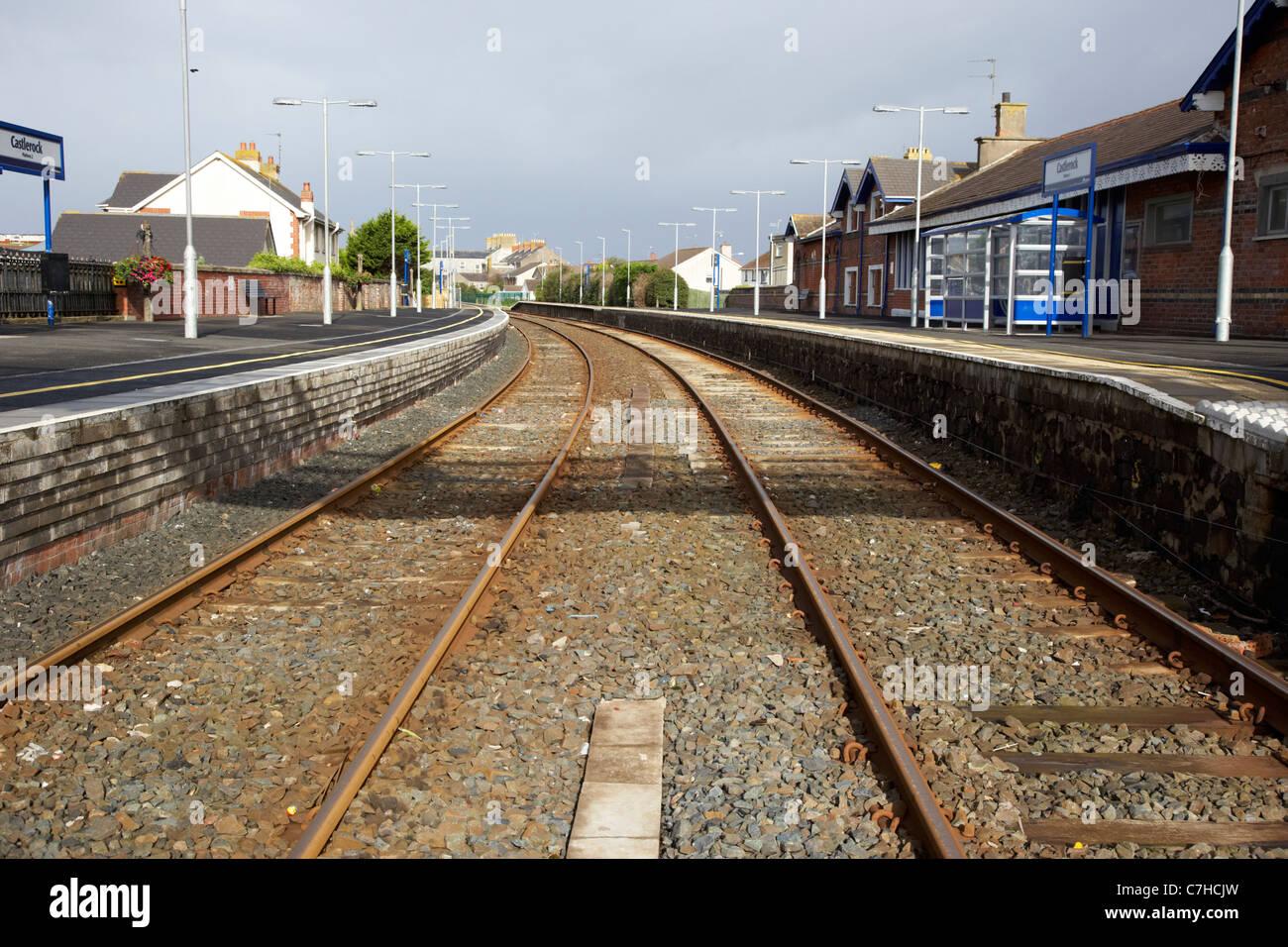 railway lines through castlerock railway station northern ireland uk - Stock Image