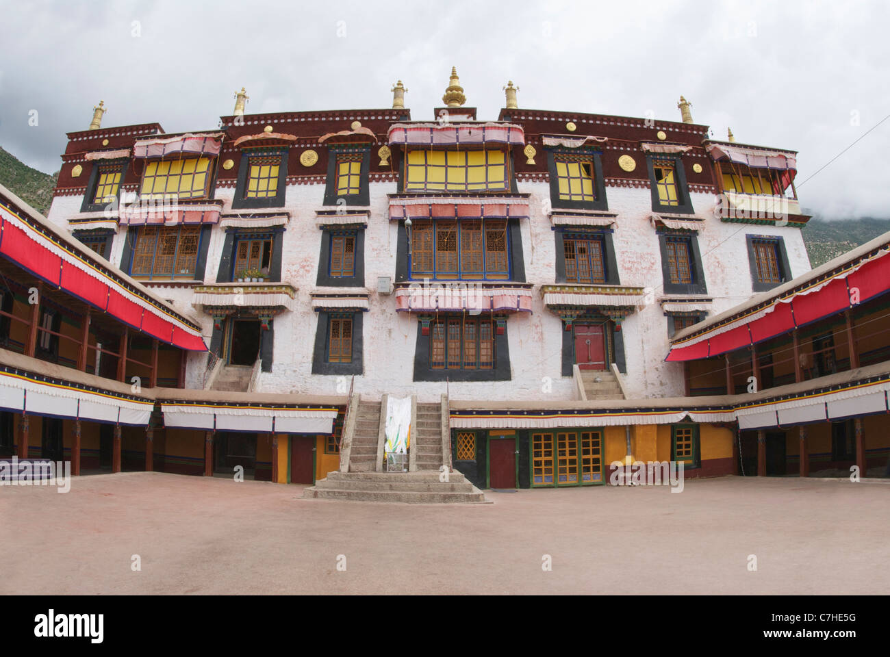 Drepung monastery courtyard to Ganden palace - Stock Image