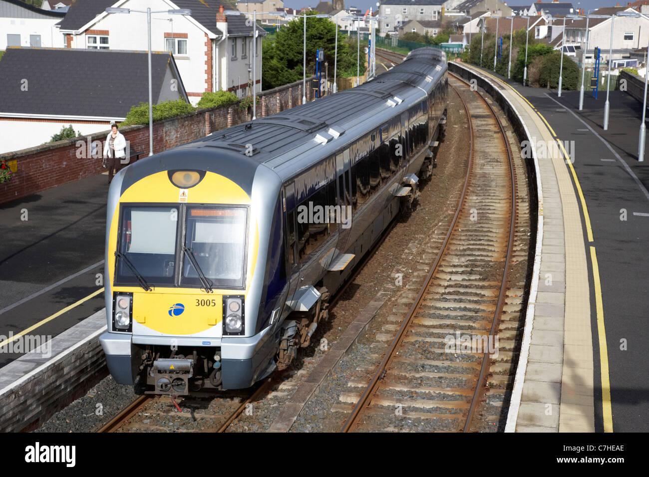 northern ireland railways passenger train at castlerock railway station northern ireland uk - Stock Image