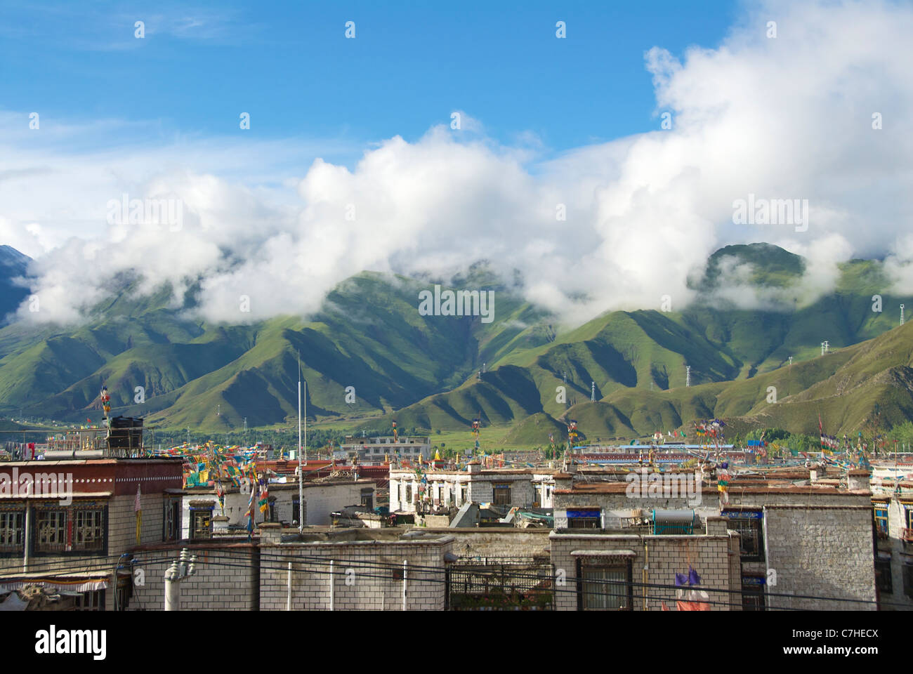 Cloud covered hills above Lhasa - Stock Image