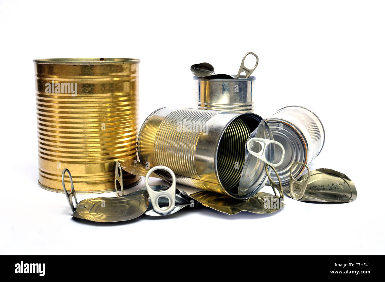 Group of recycling cans and tins on white background - Stock Image