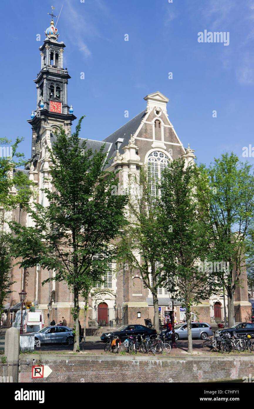 Westerkerk, Amsterdam, Holland. A  Dutch Renaissance style church by Hendrick de Keyser (city architect). - Stock Image