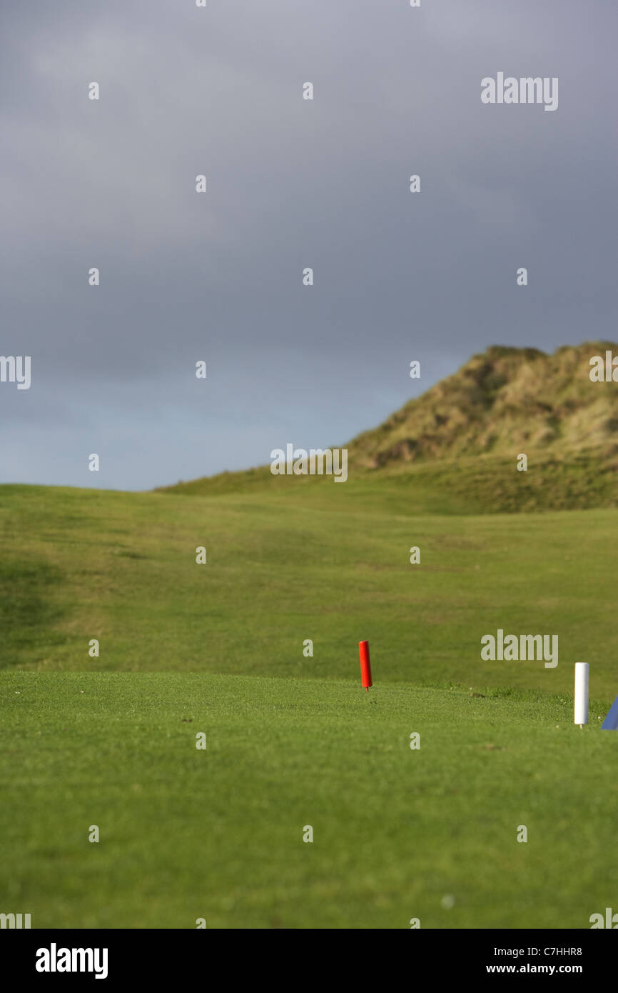 elevated tee and fairway on an irish links golf course - Stock Image