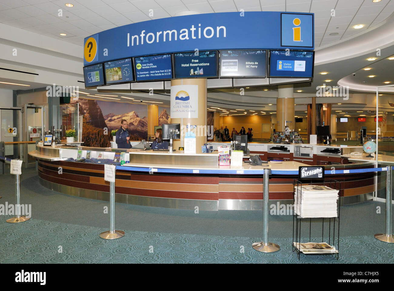 Vancouver International airport Information kiosk located at the  international arrivals.