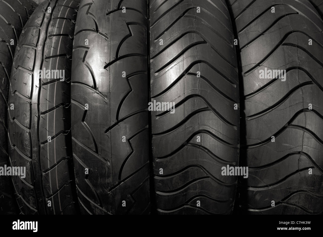 Stock photo of Racing motorcycle tires Horizontal abstract close-up texture background - Stock Image