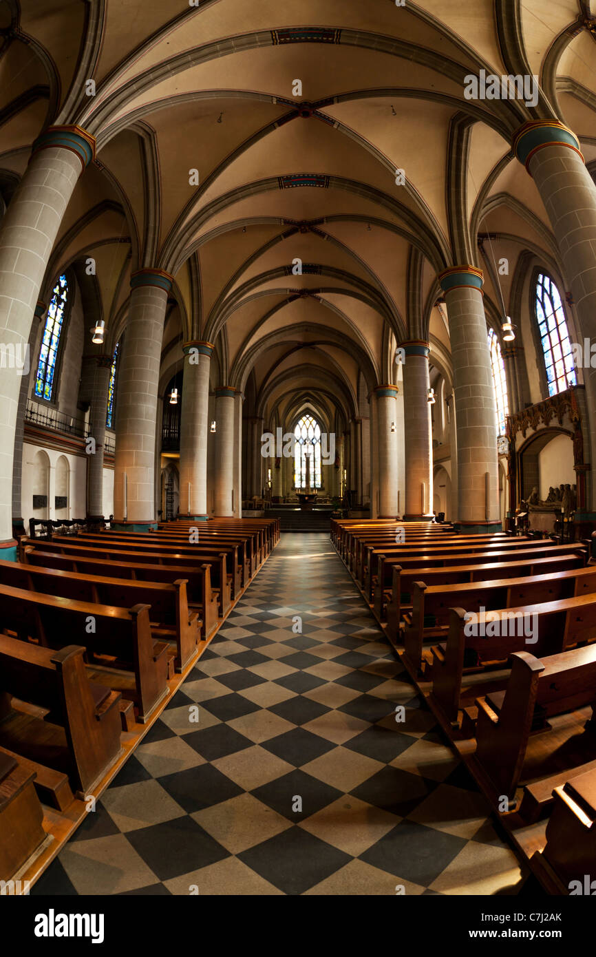 fisheye altar view of Essen cathedral - Stock Image